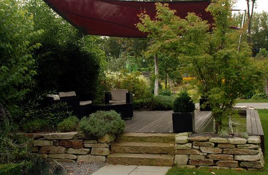 Garden terrace in the middle of a garden